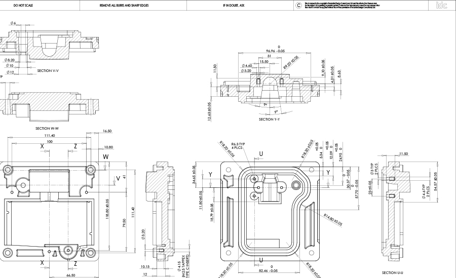 Detail, toleranced, 2D engineering drawing