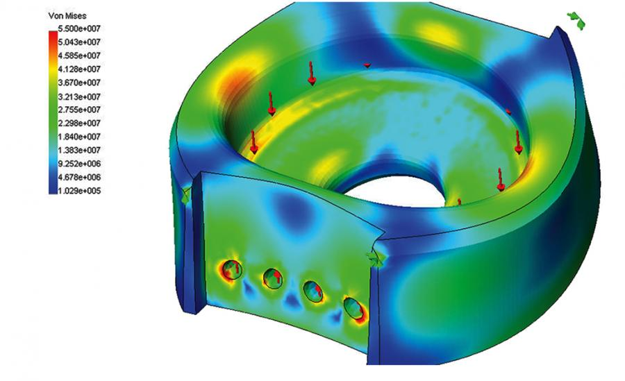 Finite element analysis model to analysis stress in a casting