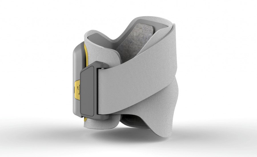 'C' shaped design enables patients to strap on with a single hand