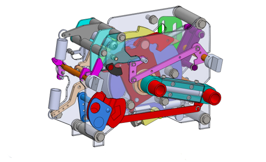 Exploded engineering assembly in 3D CAD for high power switch mechanism